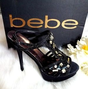 NIB BEBE PAMELLA BLACK JEWELED HEELS SZ 9